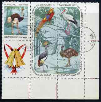 Cuba 1967 Christmas (Birds) block of 6 (the 5 x 1c values plus label) cto used, SG 1556 & 1559a/d