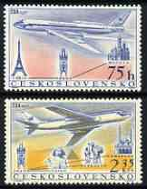 Czechoslovakia 1957 Opening of Czechoslovak Airlines perf set of 2 unmounted mint, SG 1000-1001
