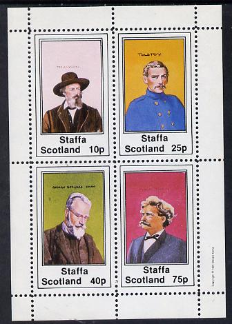 Staffa 1981 Writers (Tennyson, Shaw, Tolstoi & Mark Twain) perf set of 4 values (10p to 75p) unmounted mint