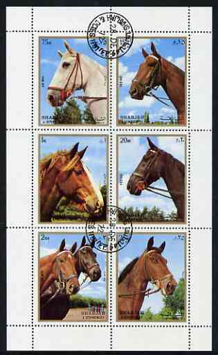 Sharjah 1972 Horses perf sheetlet containing 6 values fine cto used