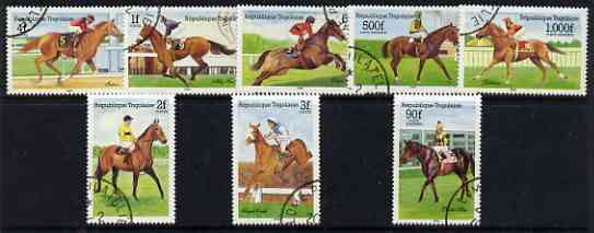 Togo 1985 Racehorses perf set of 8 fine cds used, SG 1776-83