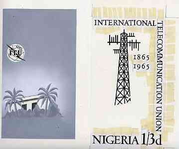 Nigeria 1965 ITU Centenary - original hand-painted artwork for 1s3d value (Microwave Aerial probably by H N G Cowham) on two sheets of card 105 x 185 mm, a) background & ..., stamps on , stamps on  itu , stamps on communications