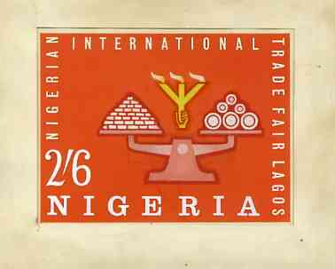 Nigeria 1962 International Trade Fair - original hand-painted artwork for 2s6d value showing scales, possibly by R Hegeman on board 135 x 103 mm, stamps on business