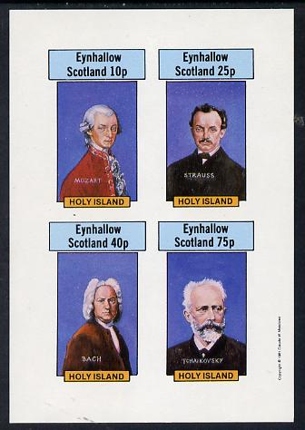 Eynhallow 1981 Composers (Mozart, Strauss, Bach & Tchaikovski) imperf set of 4 values unmounted mint