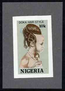 Nigeria 1987 Women's Hairstyles - imperf machine proof of 10k value (as issued stamp) mounted on small piece of grey card believed to be as submitted for final approval