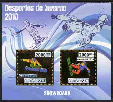 Guinea - Bissau 2010 Winter Olympic Sports - Snow boarding perf sheetlet containing 2 values in gold unmounted mint