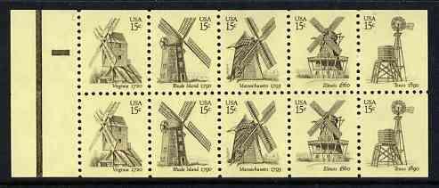 Booklet - United States 1980 Windmills booklet pane of 10 containing 2 complete sets of 5 unmounted mint, SG 1786a