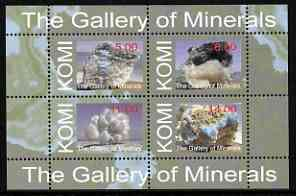 Komi Republic 1999 The Gallery of Minerals perf sheetlet containing set of 4 values unmounted mint