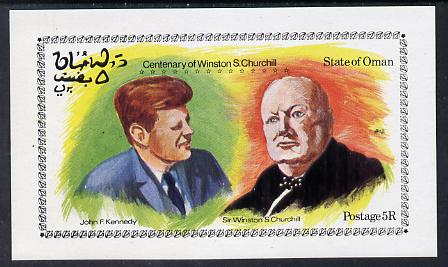 Oman 1974 Churchill Birth Centenary (With Kennedy) imperf deluxe sheet (5R value) unmounted mint