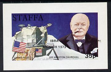 Staffa 1972 Pictorial imperf souvenir sheet (35p value) Churchill & Luna Module (opt'd IBRA Munich 1973) unmounted mint