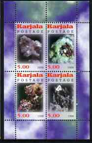 Karjala Republic 1999 Minerals #2 perf sheetlet containing set of 4 values unmounted mint
