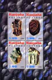 Karjala Republic 1999 Minerals #3 perf sheetlet containing set of 4 values unmounted mint