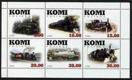 Komi Republic 1999 Steam Locos #2 perf sheetlet containing complete set of 6 values unmounted mint
