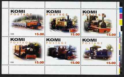 Komi Republic 1999 Steam Locos #3 (Narrow Gauge) perf sheetlet containing complete set of 6 values unmounted mint