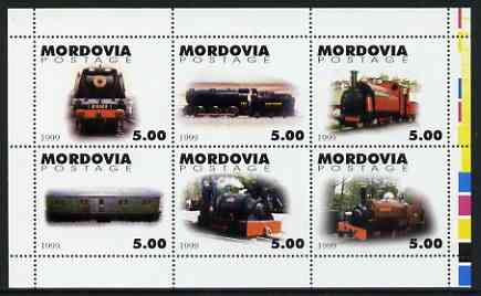 Mordovia Republic 1999 Steam Locos #1 perf sheetlet containing complete set of 6 values unmounted mint