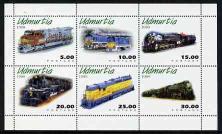 Udmurtia Republic 1999 Diesel & Steam Locos perf sheetlet containing complete set of 6 values unmounted mint