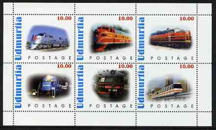 Udmurtia Republic 1999 Modern Locos perf sheetlet containing complete set of 6 values unmounted mint