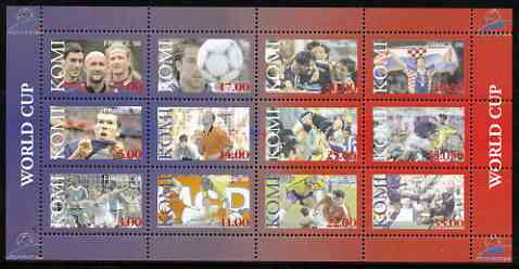 Komi Republic 1998 Football World Cup perf sheetlet containing complete set of 12 values unmounted mint