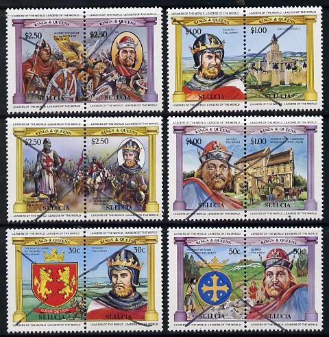 St Lucia 1984 Monarchs (Leaders of the World) the unissued set of 12 (6 se-tenant pairs of Alfred & Richard I) each crossed through (ex archives) unmounted mint