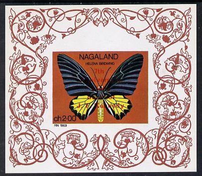 Nagaland 1971 Butterfly (Helena Birdwing) opt'd 7th Death Anniversary of Kennedy imperf Miniature sheet (2ch value) unmounted mint