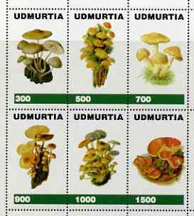 Udmurtia Republic 1998 Fungi #2 perf sheetlet containing complete set of 6 values unmounted mint