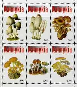 Kalmikia Republic 1998 Fungi #2 perf sheetlet containing complete set of 6 values unmounted mint