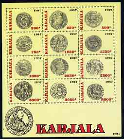 Karjala Republic 1997 Early Coins perf sheetlet containing complete set of 12 values unmounted mint