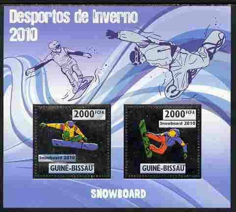 Guinea - Bissau 2010 Winter Olympic Sports - Snow boarding perf sheetlet containing 2 values in silver unmounted mint