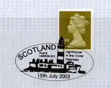 Postmark - Great Britain 2003 cover for Scotland Lighthouse with illustrated Scotland Place cancel
