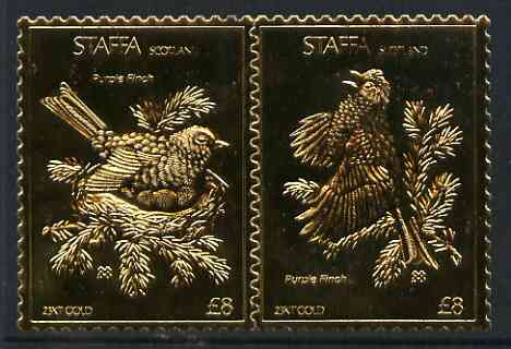 Staffa 1976 Purple Finch (Male & Female) \A38 + \A38 se-tenant pair perforated & embossed in 23 carat gold foil unmounted mint