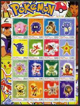 Timor (East) 2001 Pokemon #08 (characters nos 113-128) perf sheetlet containing 16 values unmounted mint