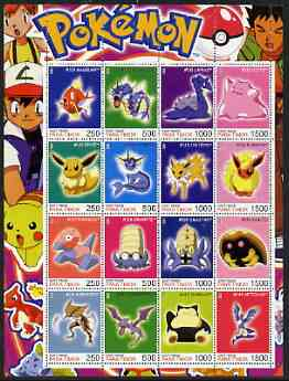 Timor (East) 2001 Pokemon #09 (characters nos 129-144) perf sheetlet containing 16 values unmounted mint