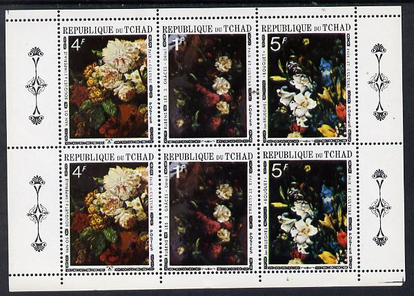 Chad 1971 Paintings of Flowers sheetlet of 6 containing 2 se-tenant strips of 3 (2 sets) unmounted mint