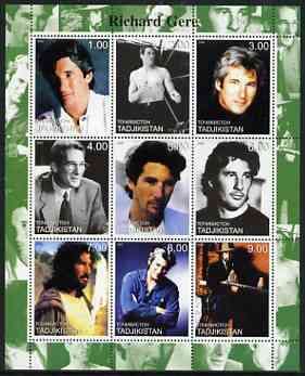 Tadjikistan 2000 Richard Gere perf sheetlet containing 9 values unmounted mint