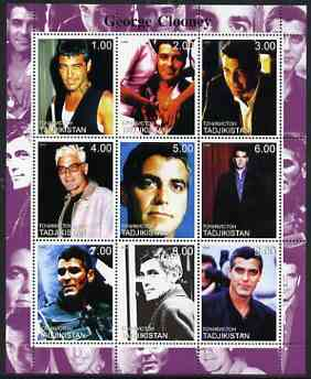 Tadjikistan 2000 George Clooney perf sheetlet containing 9 values unmounted mint