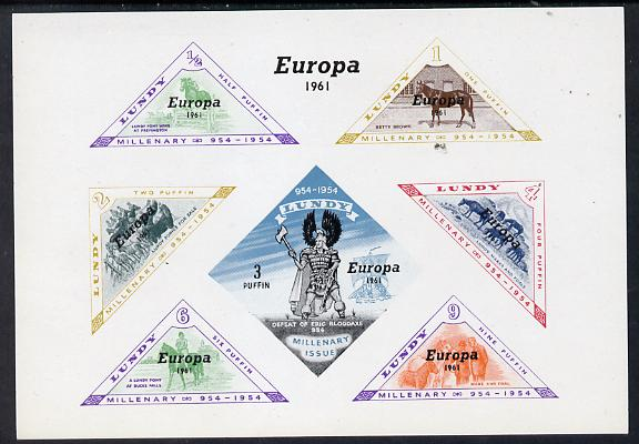 Lundy 1961 Europa opt on Horses imperf m/sheet (Horses & Viking) containing (triangular) set of 7 unmounted mint