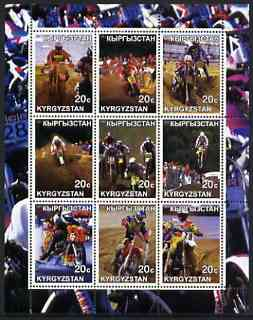 Kyrgyzstan 2001 Trials Motorcycles perf sheetlet containing 9 values unmounted mint