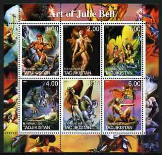 Tadjikistan 2000 Art of Julie Bell perf sheetlet containing 6 values unmounted mint