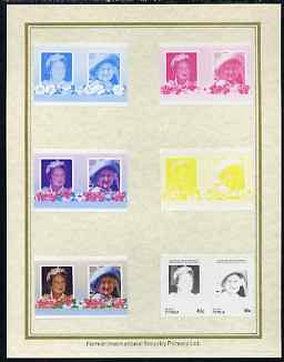 Tuvalu - Vaitupu 1985 Life & Times of HM Queen Mother (Leaders of the World) 40c set of 7 imperf progressive proof pairs comprising the 4 individual colours plus 2, 3 and all 4 colour composites mounted on special Format International cards (7 se-tenant proof pairs)