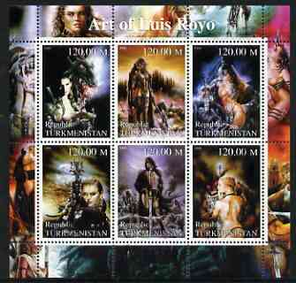 Turkmenistan 2000 Fantasy Art of Luis Royo perf sheetlet containing 6 values unmounted mint