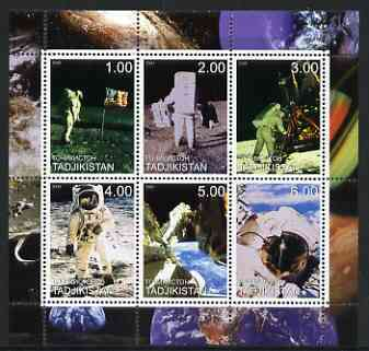 Tadjikistan 2000 Man on the Moon perf sheetlet containing 6 values unmounted mint