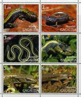 Gagauzia Republic 1999 Reptiles perf sheetlet containing complete set of 6 values unmounted mint
