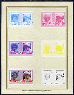 Tuvalu - Vaitupu 1985 Life & Times of HM Queen Mother (Leaders of the World) 95c set of 7 imperf progressive proof pairs comprising the 4 individual colours plus 2, 3 and all 4 colour composites mounted on special Format International cards (7 se-tenant proof pairs)