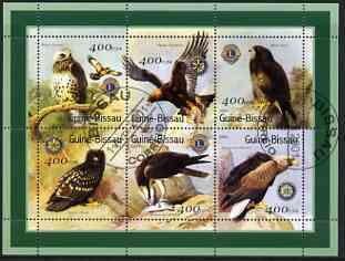 Guinea - Bissau 2001 Birds of Prey (with Lions Int & Rotary Logos) perf sheetlet containing 6 values cto used