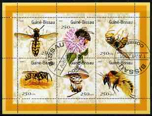 Guinea - Bissau 2001 Bees perf sheetlet containing 6 values cto used