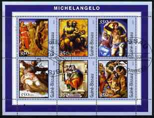 Guinea - Bissau 2001 Paintings by Michelangelo perf sheetlet containing 6 values cto used