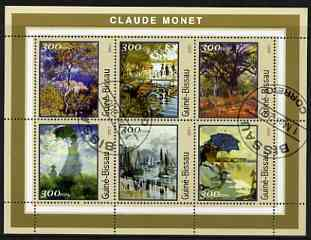 Guinea - Bissau 2001 Paintings by Claude Monet perf sheetlet containing 6 values cto used