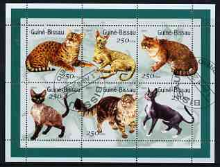 Guinea - Bissau 2001 Domestic Cats perf sheetlet containing 6 values cto used