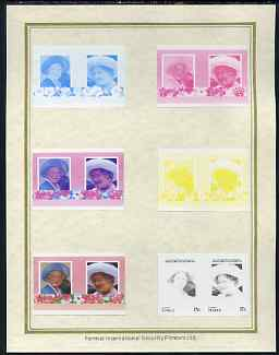 Tuvalu - Vaitupu 1985 Life & Times of HM Queen Mother (Leaders of the World) 15c set of 7 imperf progressive proof pairs comprising the 4 individual colours plus 2, 3 and all 4 colour composites mounted on special Format International cards (7 se-tenant proof pairs)