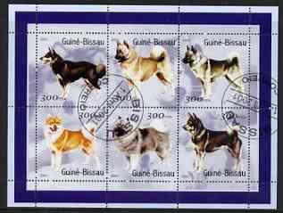 Guinea - Bissau 2001 Dogs #2 perf sheetlet containing 6 values cto used